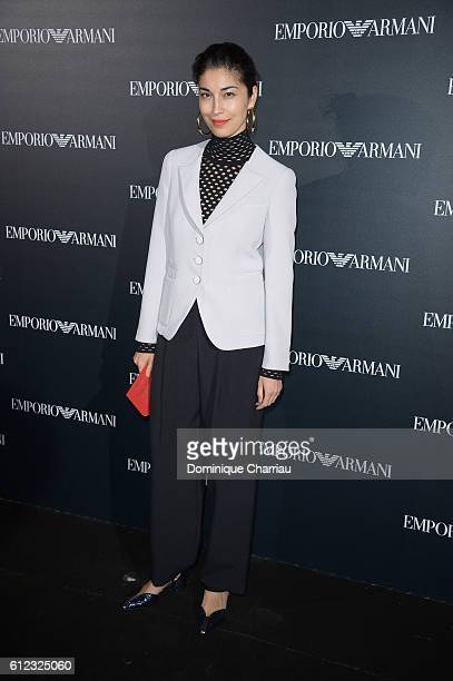 Caroline Issa attends the Emporio Armani show as part of the Paris Fashion Week Womenswear Spring/Summer 2017 on October 3, 2016 in Paris, France.