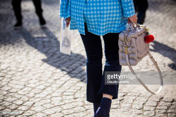 Caroline Issa bag detail is seen before the Chanel show during Paris Fashion Week Womenswear SS18 on October 3 2017 in Paris France