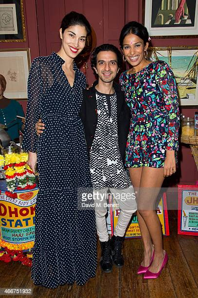 Caroline Issa, Imran Amed and Saloni Lodha attends the Saloni Holi colour cocktail party on March 18, 2015 in London, England.