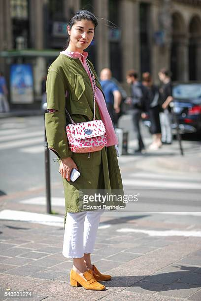 Caroline Issa is seen after the Paul Smith show during Paris Fashion Week Menswear Spring/Summer 2017 on June 26 2016 in Paris France