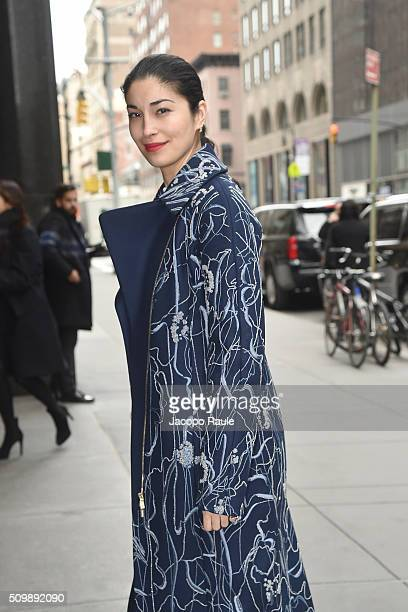 Caroline Issa is seen arriving at Polo Ralph Lauren presentation during Fall 2016 New York Fashion Week on February 12 2016 in New York City