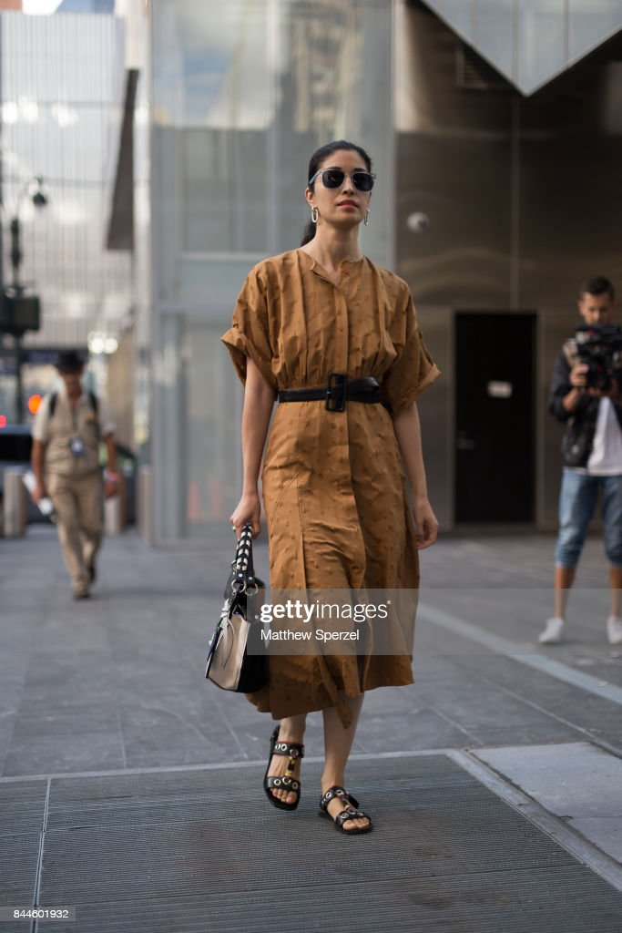 Caroline Issa is seen attending Monse during New York Fashion Week wearing Jason Wu on September 8, 2017 in New York City.