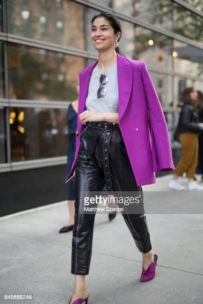 Caroline Issa is seen attending Oscar de la Renta during New York Fashion Week wearing a purple blazer with black pants on September 11 2017 in New...
