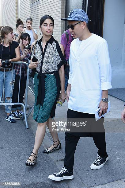 Caroline Issa is seen leaving the JCrew Presentation during New York Fashion Week The Shows at Skylight Clarkson Sq on September 17 2015 in New York...
