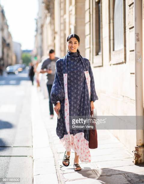 Caroline Issa is seen outside Giorgio Armani Prive on day three during Paris Fashion Week Haute Couture FW18 on July 2 2018 in Paris France