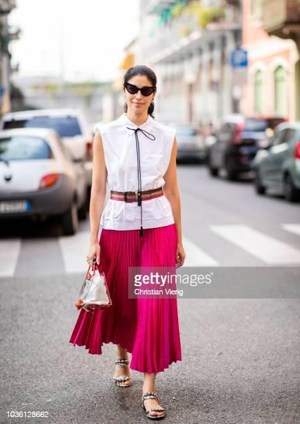 Caroline Issa is seen outside Jil Sander during Milan Fashion Week Spring/Summer 2019 on September 19 2018 in Milan Italy