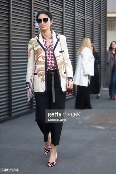 Caroline Issa is seen outside the Gucci show during Milan Fashion Week Fall/Winter 2017/18 on February 22 2017 in Milan Italy