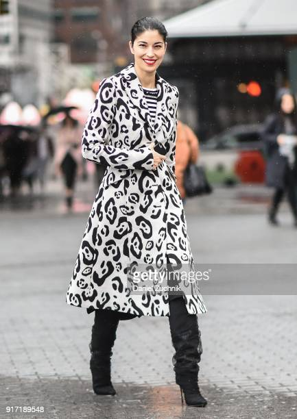 Caroline Issa is seen outside the Tibi show during New York Fashion Week Women's A/W 2018 on February 11 2018 in New York City