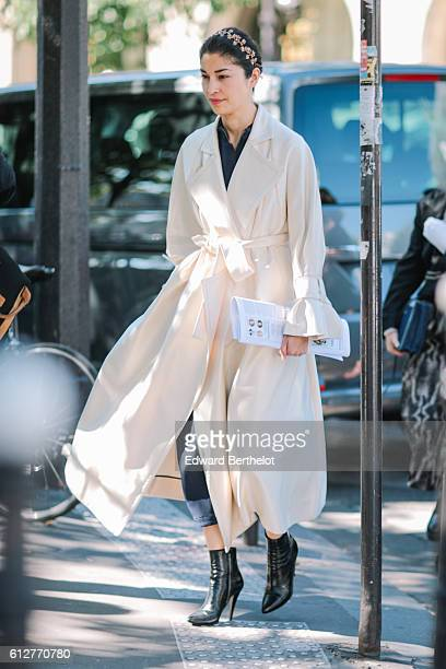Caroline Issa is seen outside the Vanessa Seward show during Paris Fashion Week Spring Summer 2017 on October 4 2016 in Paris France