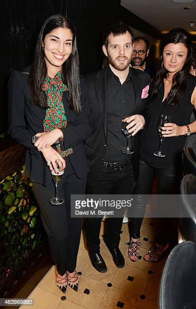 Caroline Issa Mike Skinner and Claire Le Marquand attend a dinner hosted by Caroline Issa to celebrate the launch of new book The Age Of Earthquakes...