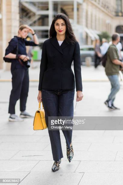 Caroline Issa outside Schiaparelli during Paris Fashion Week Haute Couture Fall/Winter 20172018 Day Two on July 3 2017 in Paris France