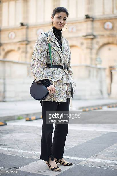 Caroline Issa poses after the Sonia Rykiel show at the Ecole des Beaux Arts during Paris Fashion Week Womenswear SS17 on October 3 2016 in Paris...