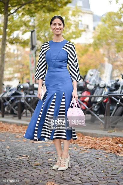 Caroline Issa poses before the Miu Miu show at the Palais de Iena during Paris Fashion Week SS16 on October 7 2015 in Paris France