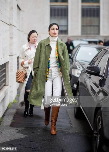 Caroline Issa seen outside Salvatore Ferragamo during Milan Fashion Week Fall/Winter 2018/19 on February 24 2018 in Milan Italy