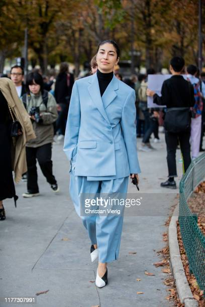 Caroline Issa seen wearing blue turquois suit outside Chloe during Paris Fashion Week Womenswear Spring Summer 2020 on September 26, 2019 in Paris,...