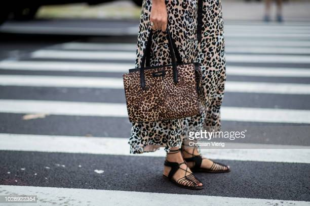 Caroline Issa wearing dress with leopard print is seen outside Tory Burch during New York Fashion Week Spring/Summer 2019 on September 7 2018 in New...