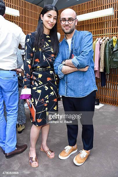 Caroline Issa with Bally Design Director Pablo Coppola at the Bally Men's Spring Summer 2016 Presentation in Milan 21st June 2015