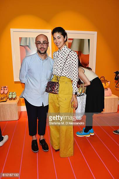 Caroline Issa with Bally Design Director Pablo Coppola at the Bally Womens Spring Summer 2017 Presentation in Milan 24 September 2016 in Milan Italy