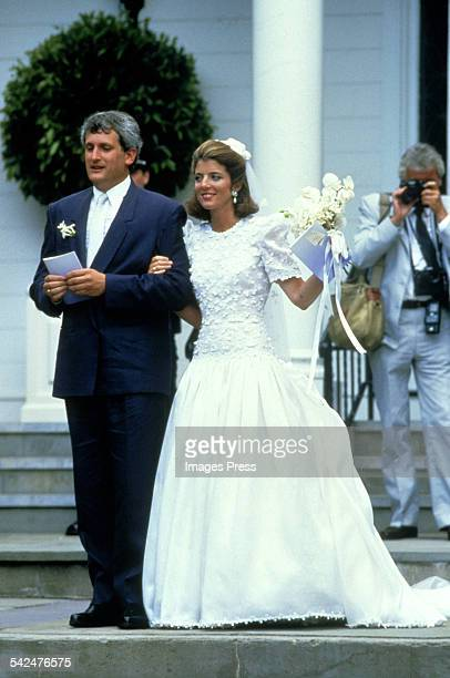 Caroline Kennedy and Edwin Schlossberg during their wedding ceremony in the Church of Our Lady of Victory on July 19 1986 in Hyannis Port...