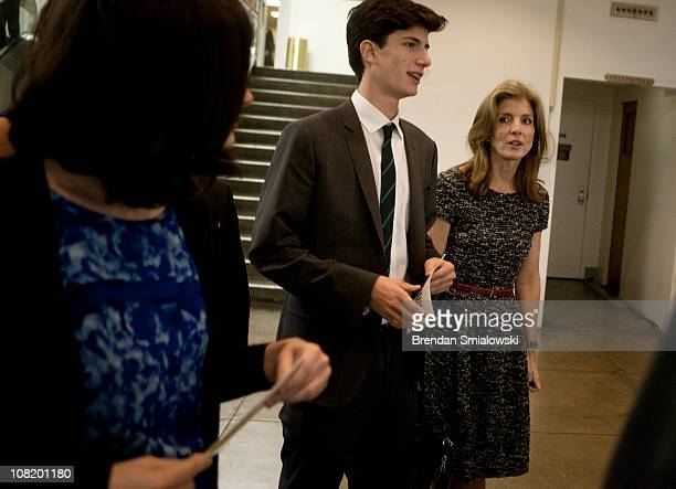 Caroline Kennedy and her children Rose Schlossberg and Jack Schlossberg walk to an event in the room where John F Kennedy announced his candidacy for...
