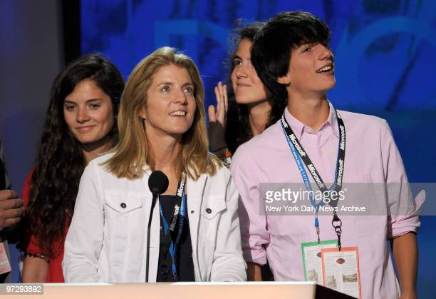 Caroline Kennedy and her family daughters Rose Tatiana and son James Schlossberg on stage during rehearsals at the Pepsi Center before the start of...