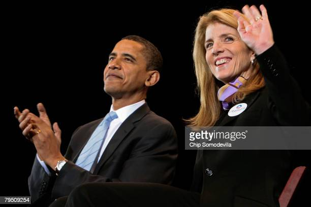 Caroline Kennedy daughter of former US President John F Kennedy waves to supporters of Democratic presidential hopeful Sen Barack Obama during a...