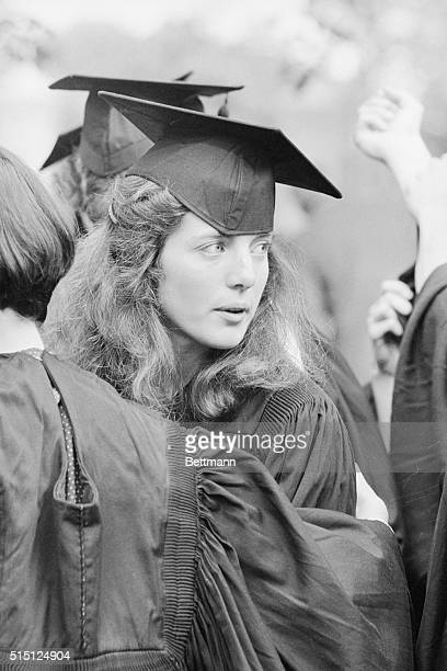 Caroline Kennedy daughter of the late President John F Kennedy and Jacqueline Kennedy Onassis wears cap and gown as she graduates from Radcliffe...