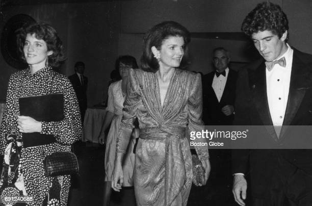 Caroline Kennedy Jacquline Kennedy Onassis and John F Kennedy Jr at a fundraiser at the John F Kennedy Presidential Library and Museum in Boston on...