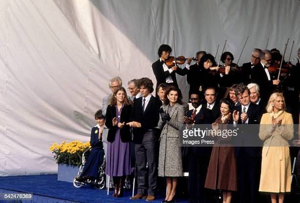 Caroline Kennedy John F Kennedy Jr Jackie Onassis Kennedy and other family members at the Kennedy Presidential Library Dedication circa 1979 in...