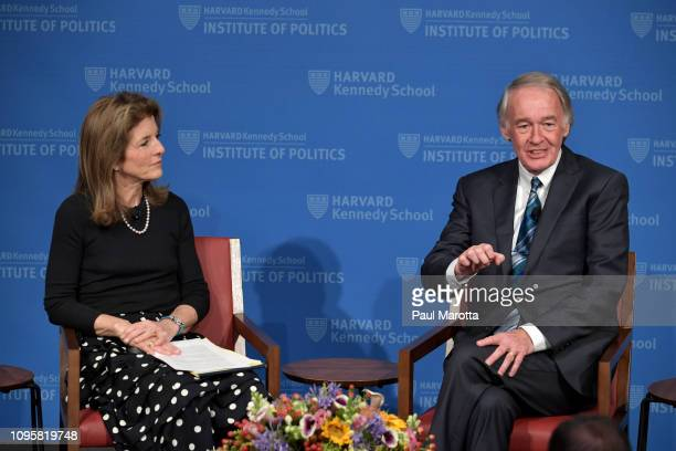 Caroline Kennedy moderates a discussion with Massachusetts Senator Ed Markey speak in a program titled 'America and the World A Conversation With...