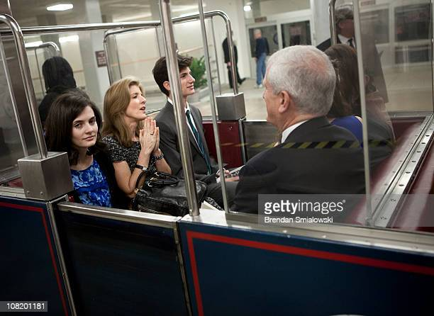Caroline Kennedy rides the Senate Subway with her daughter Rose Schlossberg son Jack Schlossberg and husband Edwin Schlossberg to an event in the...