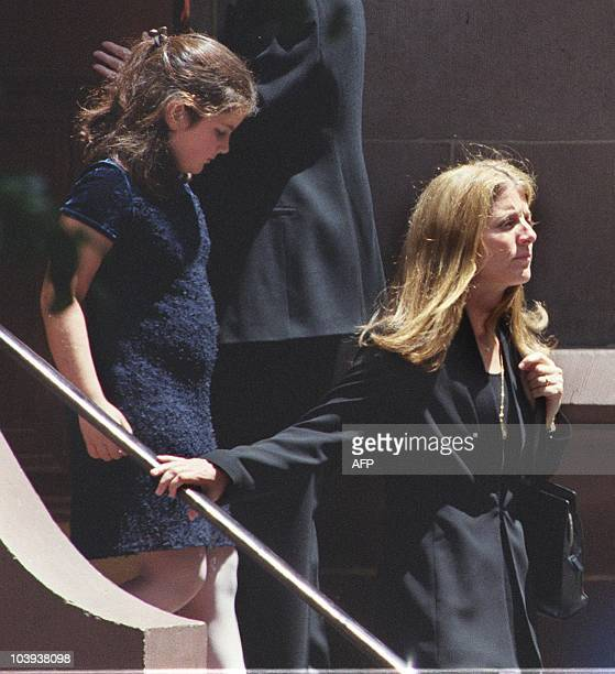 Caroline Kennedy Schlossberg and her daughter Tatiana leave the Church of St Thomas More in New York City 23 July 1999 after a memorial Mass for her...