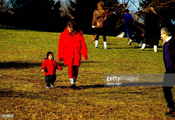 Caroline Kennedy Schlossberg and her husband Edwin and daughter Rose stoll along Central Park in New York City January 27 1990