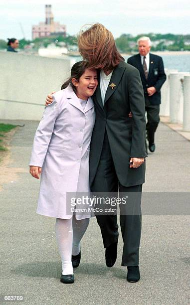 Caroline Kennedy Schlossberg hugs daughter Tatiana Schlossberg outside the JFK Library after handing out the John F Kennedy Profile in Courage Award...