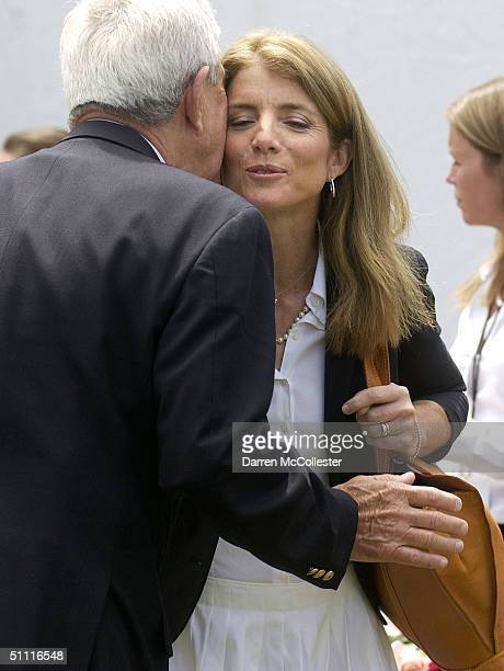 Caroline Kennedy Schlossberg is greeted during the dedication of the Rose Fitzgerald Kennedy Greenway July 26 2004 in Boston Massachusetts The...