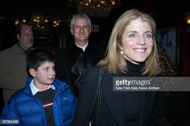 Caroline Kennedy Schlossberg son Jack and husband Edwin Schlossberg arrive at the Ziegfeld Theater for the premiere of the movie 'Maid in Manhattan'