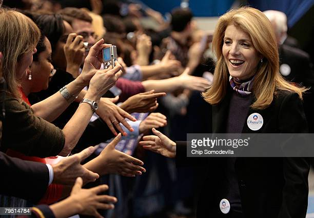 Caroline Kennedy shakes hands with supporters while stumping for Democratic presidential hopeful Sen Barack Obama during a rally at the XL Center on...