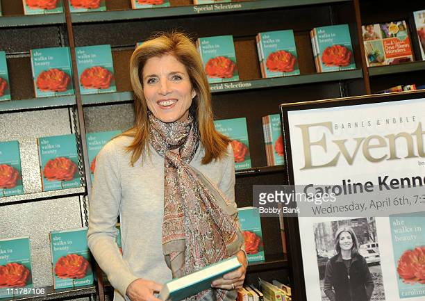 Caroline Kennedy signs copies of 'She Walks in Beauty A Woman's Journey Through Poems' at Barnes Noble Market Fair on April 6 2011 in Princeton New...