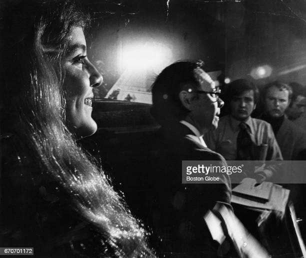 Caroline Kennedy sits at the press conference at Harvard University in Cambridge Mass about the proposed John F Kennedy Library complex on May 29...