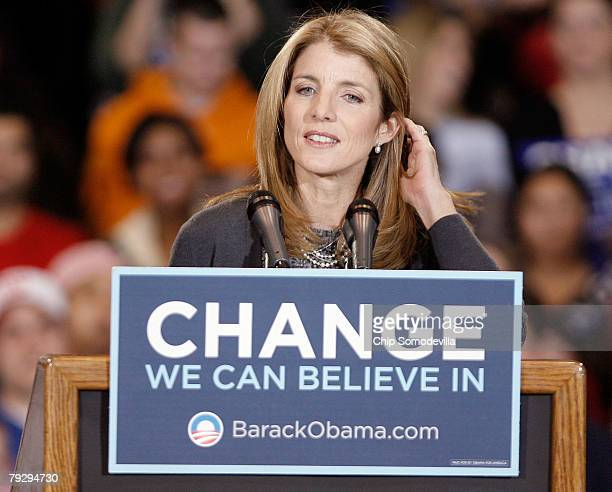 Caroline Kennedy speaks during a campaign rally in support of Sen Barack Obama in the Bender Arena at American University January 28 2008 in...