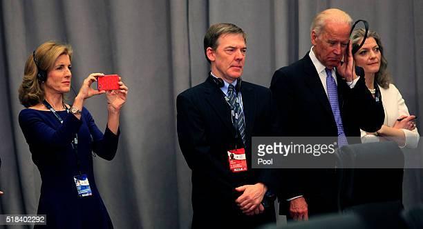 Caroline Kennedy, U.S. Ambassador to Japan, takes a photo alongside Christopher Johnstone, Director for Japan and Oceanian Affairs, Vice President...