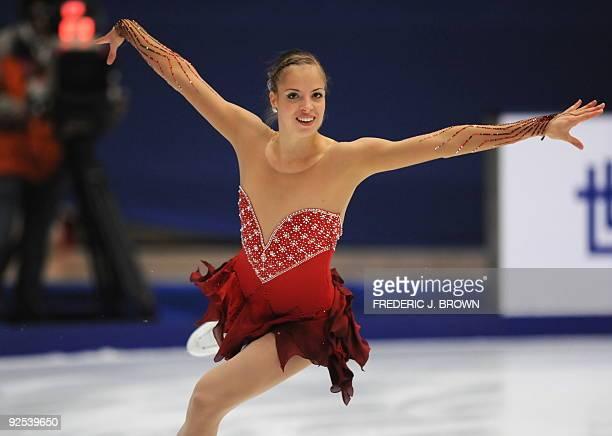 Caroline Kostner of Italy performs in the ladies' short program during the ISU Grand Prix of Figure Skating 2009/2010 in Beijing on October 30 2009...