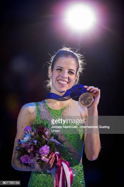 Caroline Kostner of Italy poses in the ladies medal ceremony during day four of the European Figure Skating Championships at Megasport Arena on...
