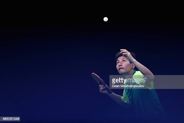 Caroline Kumahara of Brasil hits a serve in practice during a Olympics preview day - 3 at Rio Centro on August 2, 2016 in Rio de Janeiro, Brazil.