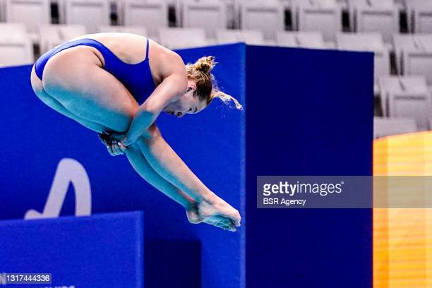 Caroline Kupka of Norway competing at the Team Event Final during the LEN European Aquatics Championships 1m Springboard Preliminary at Duna Arena on...
