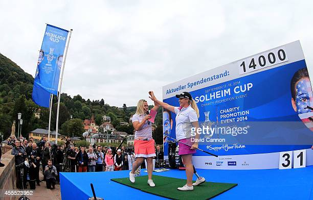 Caroline Larsson of Sweden during the SAP Solheim Cup Charity Promotion event at the Golf Club St Leon-Rot on September 15, 2014 in St Leon-Rot,...