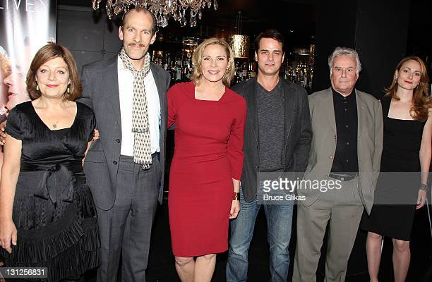 Caroline Lena Olsson Simon Paisley Day Kim Cattrall Paul Gross Director Sir Richard Eyre and Anna Madeley pose at the Private Lives cast meet greet...