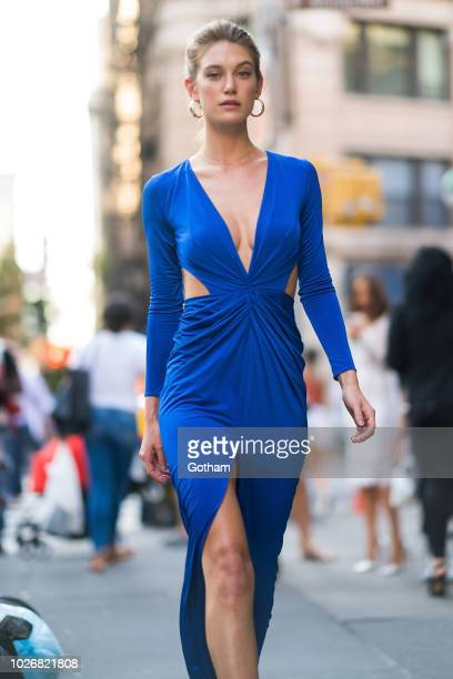 Caroline Lowe is seen in Tribeca on September 4 2018 in New York City