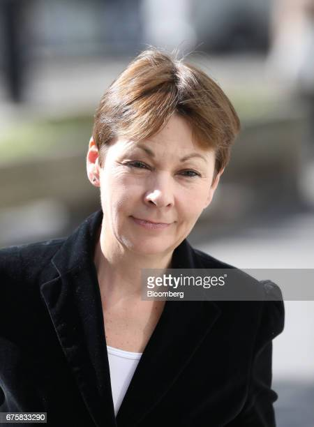 Caroline Lucas coleader of the Green Party arrives for a news conference in London UK on Tuesday May 2 2017 Five weeks before the general election...