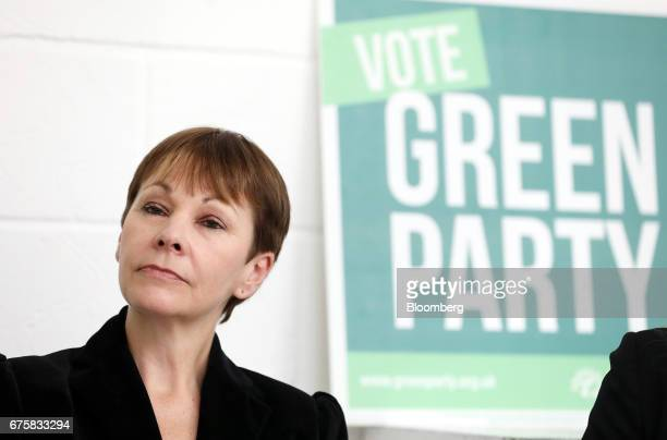 Caroline Lucas coleader of the Green Party pauses during a news conference in London UK on Tuesday May 2 2017 Five weeks before the general election...
